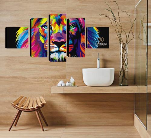 quadro decorativo personalizado leão e com sua foto 126x60
