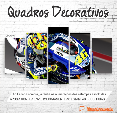 quadro decorativo piloto moto gp the doctor 46 1,60x0,80