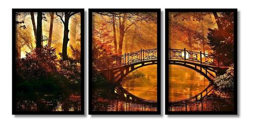 quadro decorativo ponte romântica 3 quadros grandes +brinde