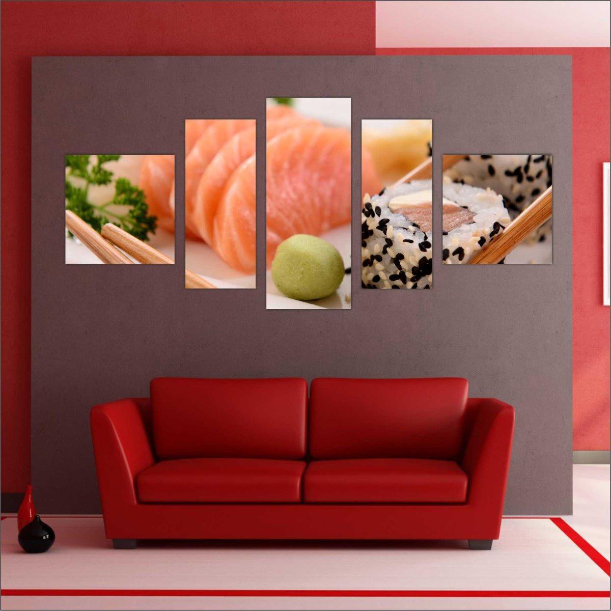 Quadro Decorativo Restaurante Oriental Mosaico Com 5 Peças 3 - R ... c28557c4451