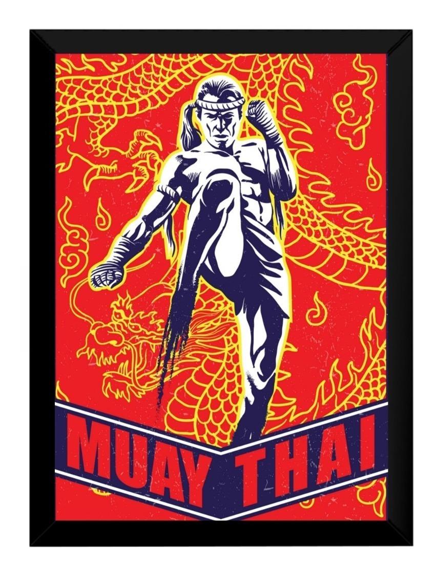 Quadro Decorativo Retro Desenho Boxe Tailandes Muay Thai 42x R