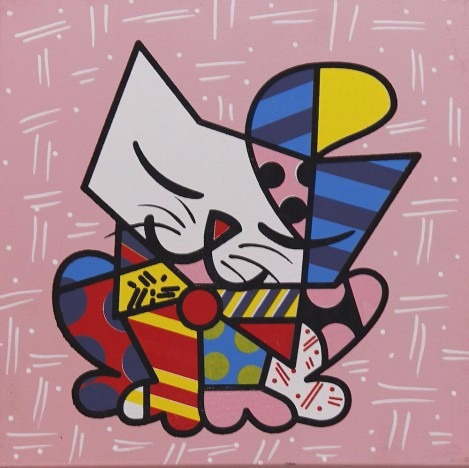 quadro decorativo romero britto gato 30 x 30 cm r 45 00. Black Bedroom Furniture Sets. Home Design Ideas