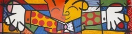 quadro decorativo romero britto the hug o abraço 1,00 x 0,30