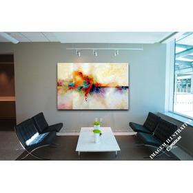 Quadro Decorativo Sala Pintura Abstrato Ondular P137