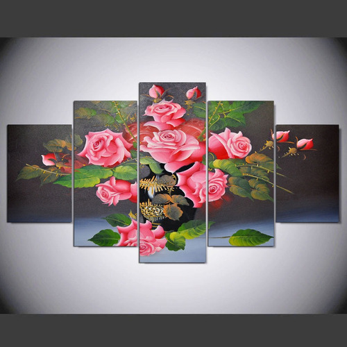 quadro decorativo sala quarto flores rosa paiting - grande
