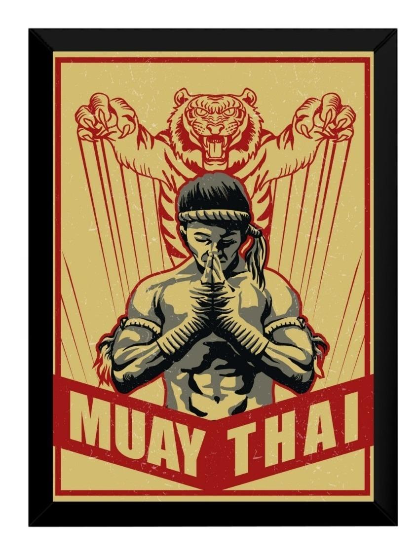 Quadro Decorativo Vintage Desenho Boxe Tailandes Muay Thai 4 R
