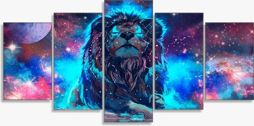 quadro decorativos mosaico leão colorido
