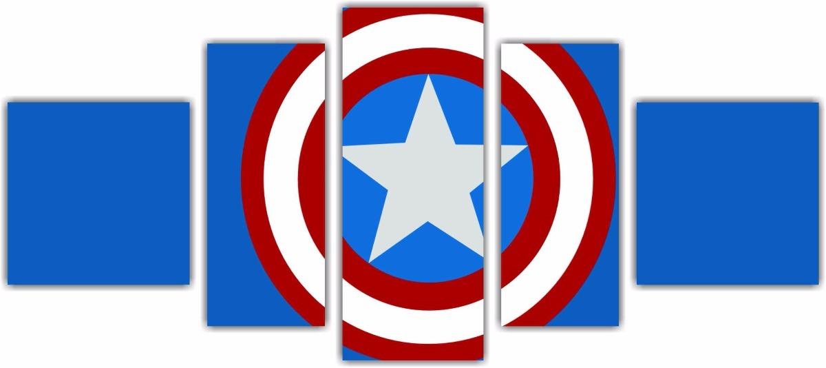 Quadro Desenho 5 Pcs Escudo Marvel Capitao America 01 R 258 90