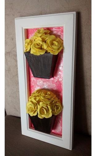 quadro duplo vasinho 3 d  rosas de e.v.a  lindissimo