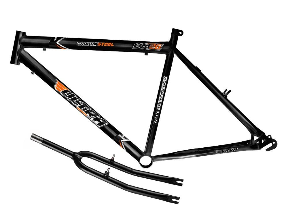 quadro em a u00e7o ultra bike aro 26 com garfo - preto