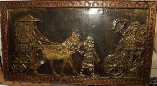 quadro em bronze - alto relevo- 2,20 x 1,20 m.- frete grátis