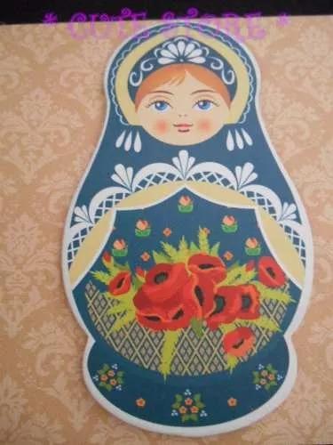 quadro em pvc matrioska boneca russa imita azulejo