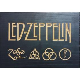 Quadro Entalhado Em Madeira - Led Zeppelin - Rock & Roll