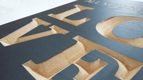 quadro entalhado em madeira - the beatles - love (preto)