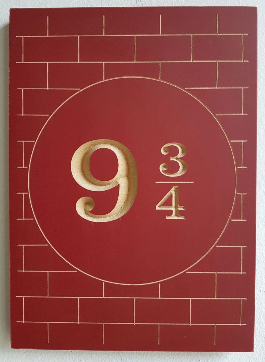Quadro Entalhado Madeira P Plataforma 9 3 4 Harry Potter 2