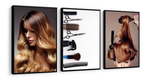 quadro escova salão de beleza cabelereira cabelos perfeito