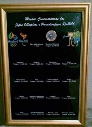 quadro expositor das moedas olímpicas - só o quadro