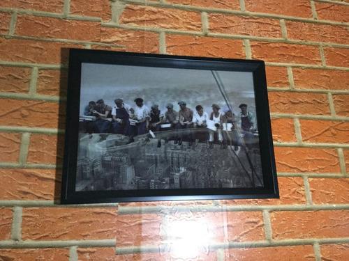 quadro famosa foto de 11 homens almoçando em viga em n. york