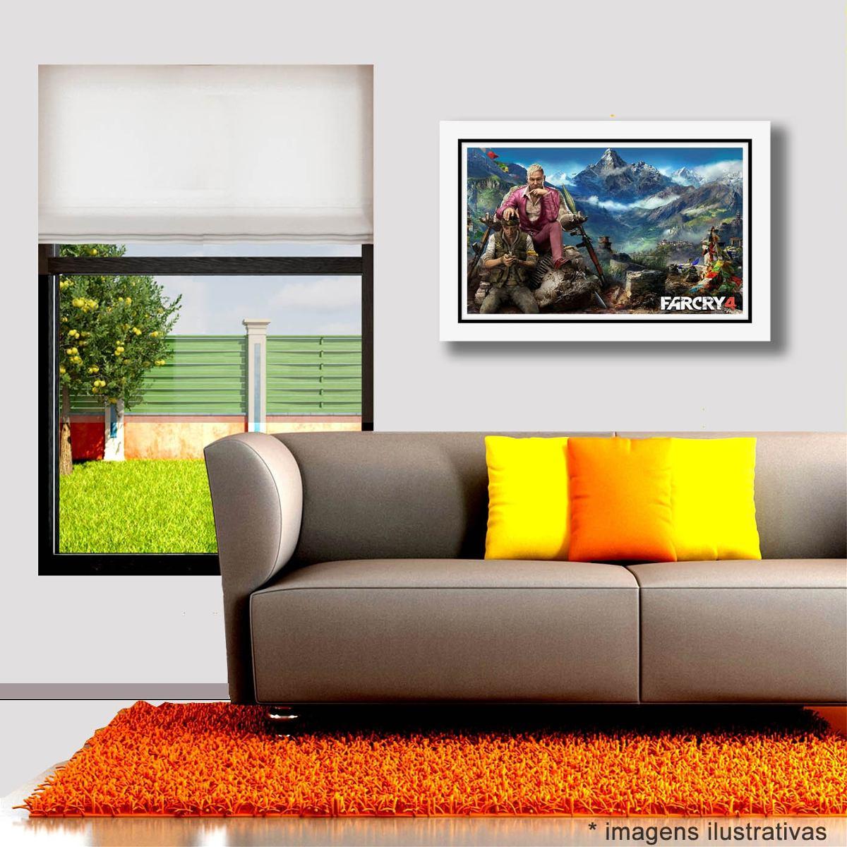 Quadro Far Cry 4 60x40cm Game Filme Tv Decorativo Sala Jogos R  -> Sala De Tv E Jogos