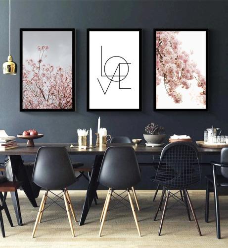 quadro flores rosa com love amor sala quarto corredor hall