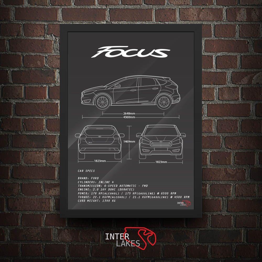 Quadro Ford Focus Hatch Titanium Interlakes Poster Carro