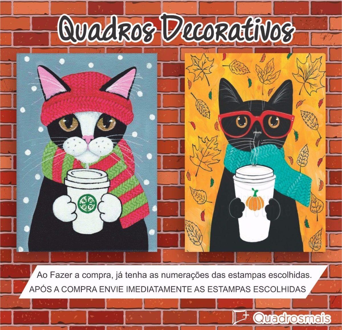 Quadro Gato Touca Óculos Animal Decor Sala Quarto 40x30cm - R  22,90 ... 080f3203b5