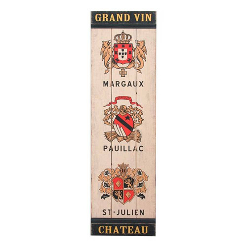 quadro grand vin chateau fundo bege em madeira - 122 s/frete