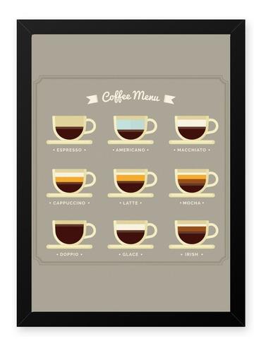 quadro graos cafe menu 23x33 cm