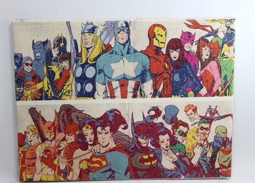 quadro heróis  impressão em tela de pintura 40x30