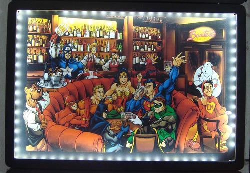 quadro iluminado américa / caveira / harley / heróis / vilõe