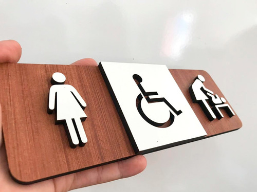 quadro indicativo banheiro deficiente mulher fraldário mulhe