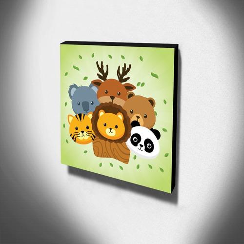 quadro infantil animais canvas 30x30cm-inf122