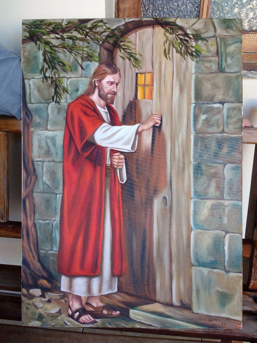 Quadro jesus cristo bate a porta pintura 50x70cm frete for Jesus a porta