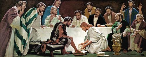 quadro jesus lavando pes santa ceia natal lava pes