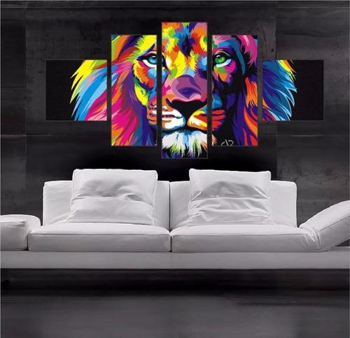 quadro leão canvas decorativo hall 114x65cm 5p