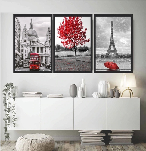 quadro londres árvore da vida vermelha paris torre eiffel