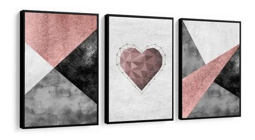 quadro love amor abstratos lindos geométricos quarto 33x43