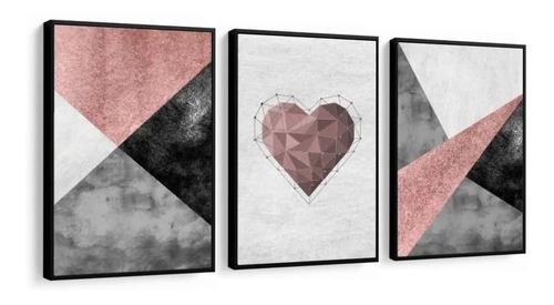 quadro love amor abstratos lindos geométricos quarto sala 1