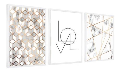 quadro love amor abstratos lindos geométricos quarto sala