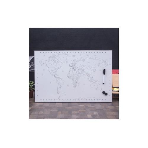 quadro magnetico mapa mundi de pintar educativo viagem luxo