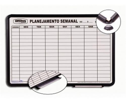 quadro magnetico planejamento semanal branco aluminio 90x60