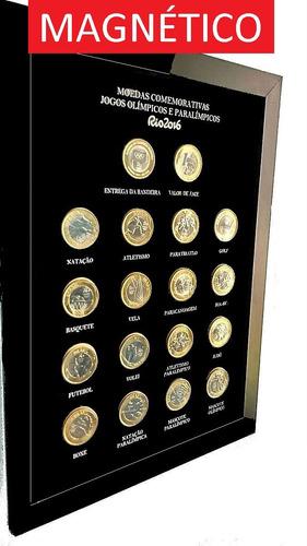 quadro magnético porta coleção moedas das olimpíadas c/ ímãs