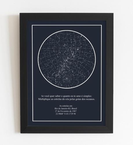 quadro mapa das estrelas a3 com moldura e acetato