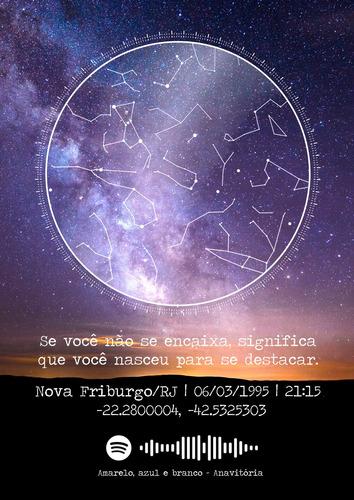 quadro mapa estelar personalizado + música (arte digital)