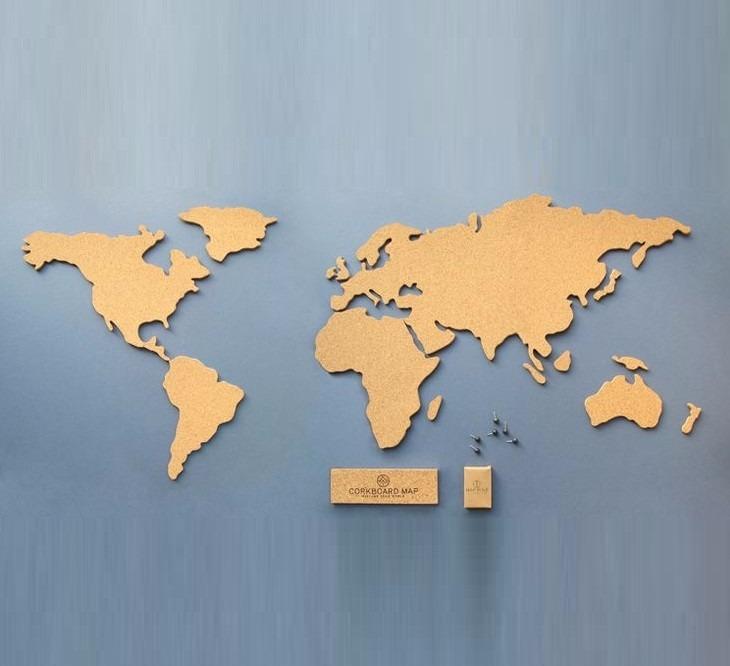 mapa mundi cortiça Quadro Mapa Mundi De Cortiça   Muito Lindo   R$ 200,00 em Mercado  mapa mundi cortiça