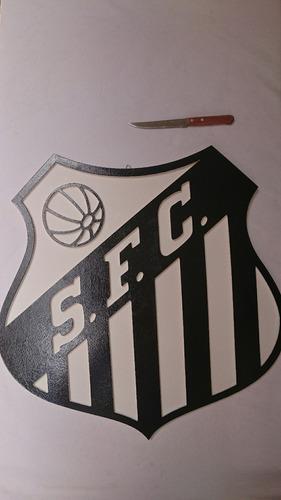 quadro mdf santos pintado brasão time madeira peixe 54x54