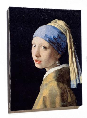 quadro moça com brinco de perola impressão em tela de pintura 30x40cm