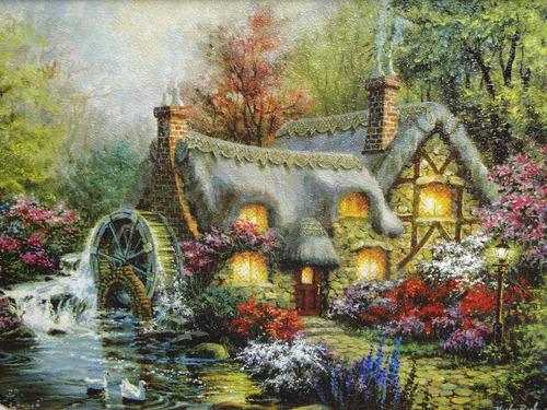 quadro moinho agua cisne rio cabana lagoa chamine jardim