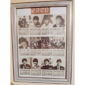 Quadro Moldura Calendário Fotos The Beatles 1964 Para 2020