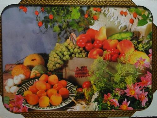 quadro moldura impressão resinada fores & frutas à mesa cor